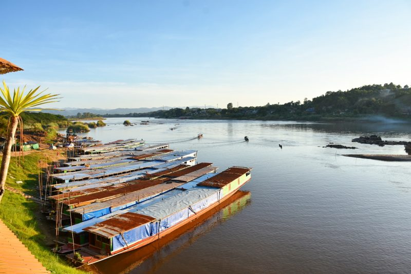 Getting ready for the Mekong river cruise for 2 days, Laos