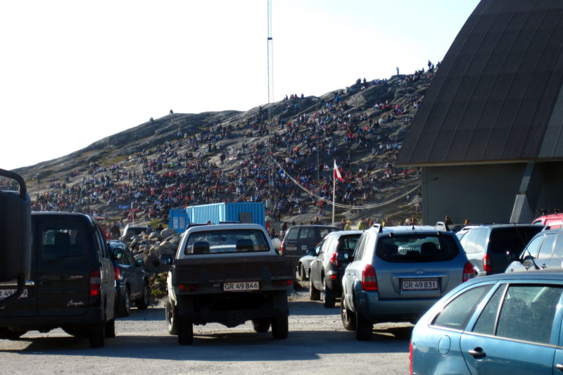 In front of the sport hall, Nuuk, Greenland