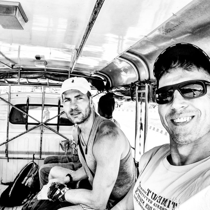 Michal Košátko and Roland Vince in tuk-tuk ride, Laos