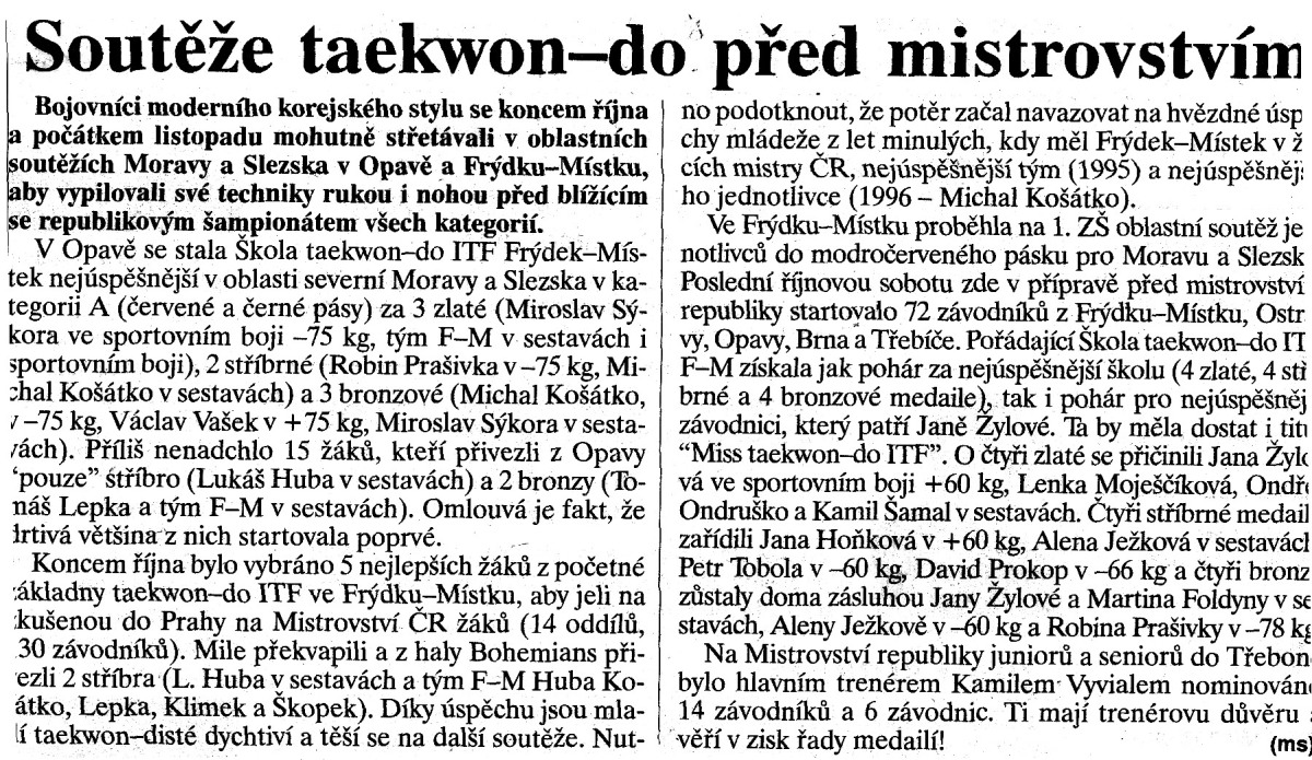 Taekwon-do ITF competitions before the Championship (Czech Republic, October 18th, 1998)