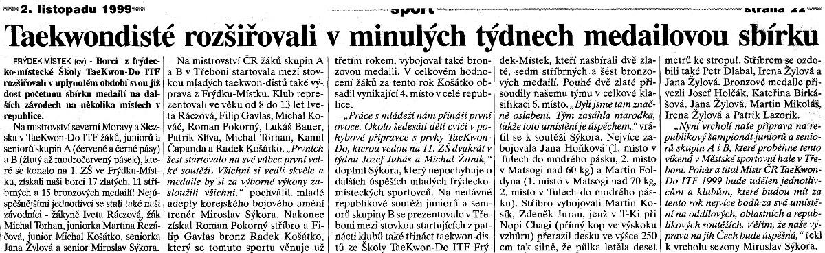 Taekwon-do ITF members extend their medal collection (Czech Republic, November 2nd, 1999)