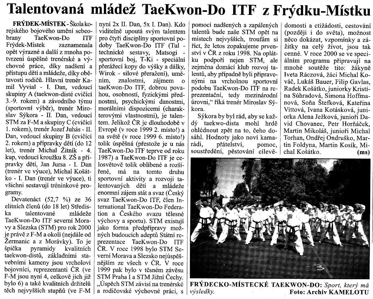 Talented Taekwon-do ITF youth from Frýdek-Místek (Czech Republic, 2000)