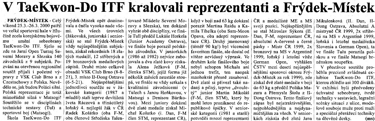 Frýdek-Místek team reigned in Taekwon-do ITF (Czech Republic, March 2000)