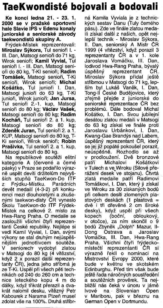 Taekwon-do ITF members won 4 gold medals (Czech Republic, January 23th, 2000)
