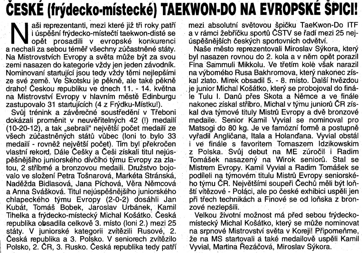 Czech Taekwon-do ITF on the top (Czech Republic, May 2000)