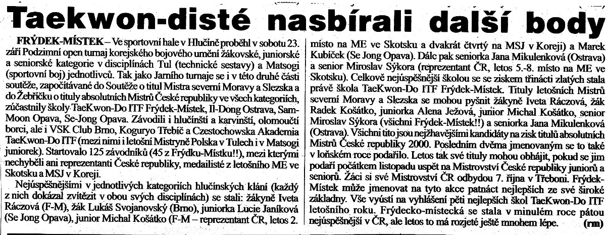 Taekwon-do ITF members gained next points (Czech Republic, September 23th, 2000)