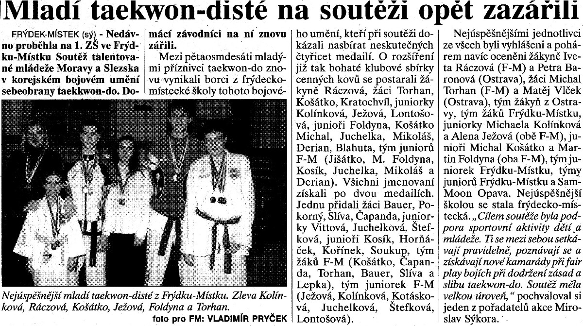Young Taekwon-do ITF members was winning again (Czech Republic, September 2001)