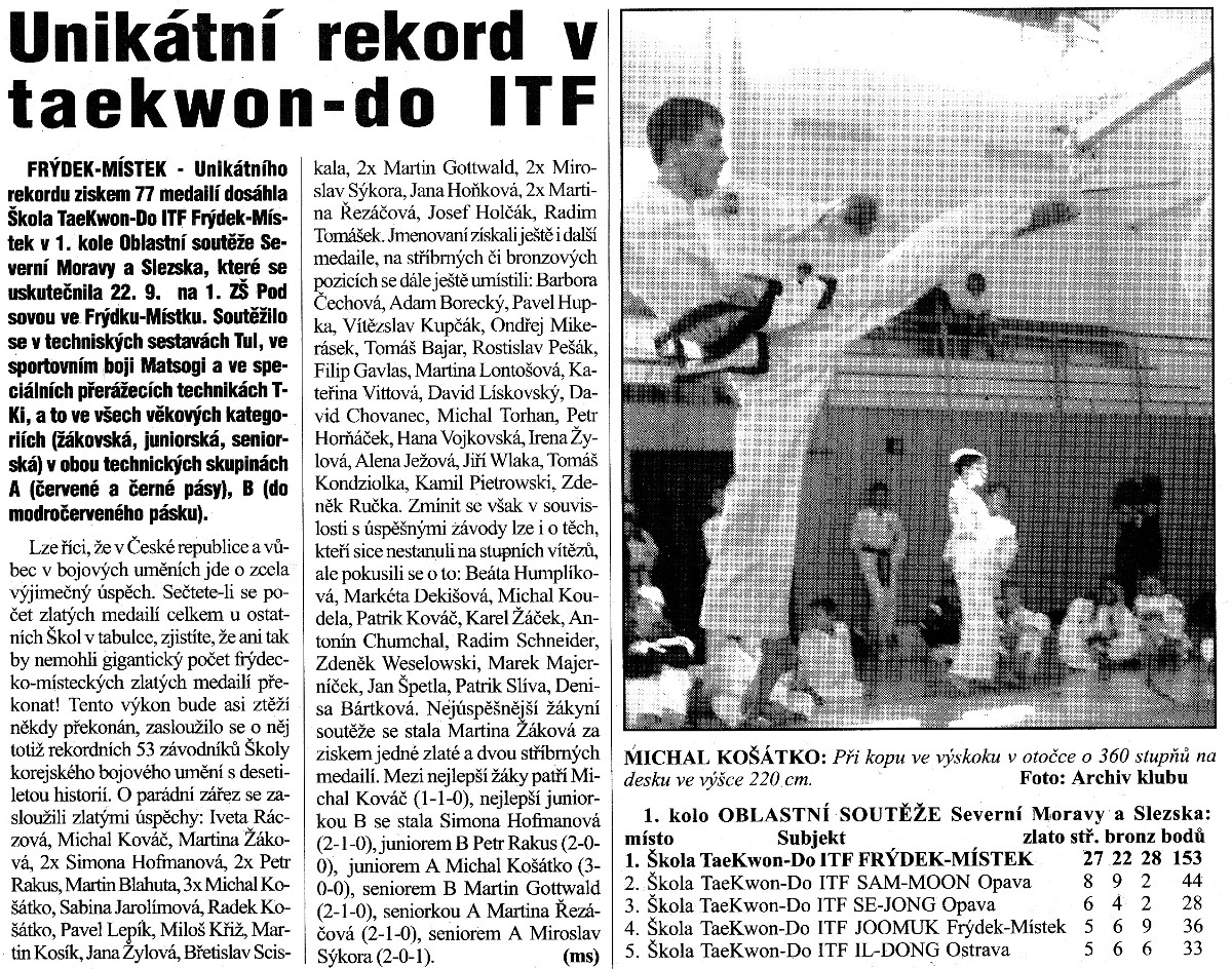 Unique record in Taekwon-do ITF (Czech Republic, September 2001)