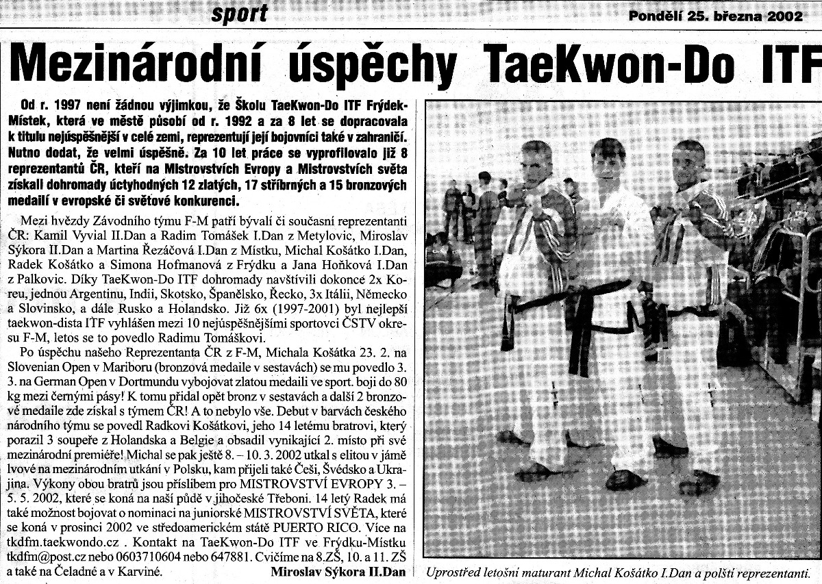 International success in Taekwon-do ITF (Czech Republic, March 25th, 2002)