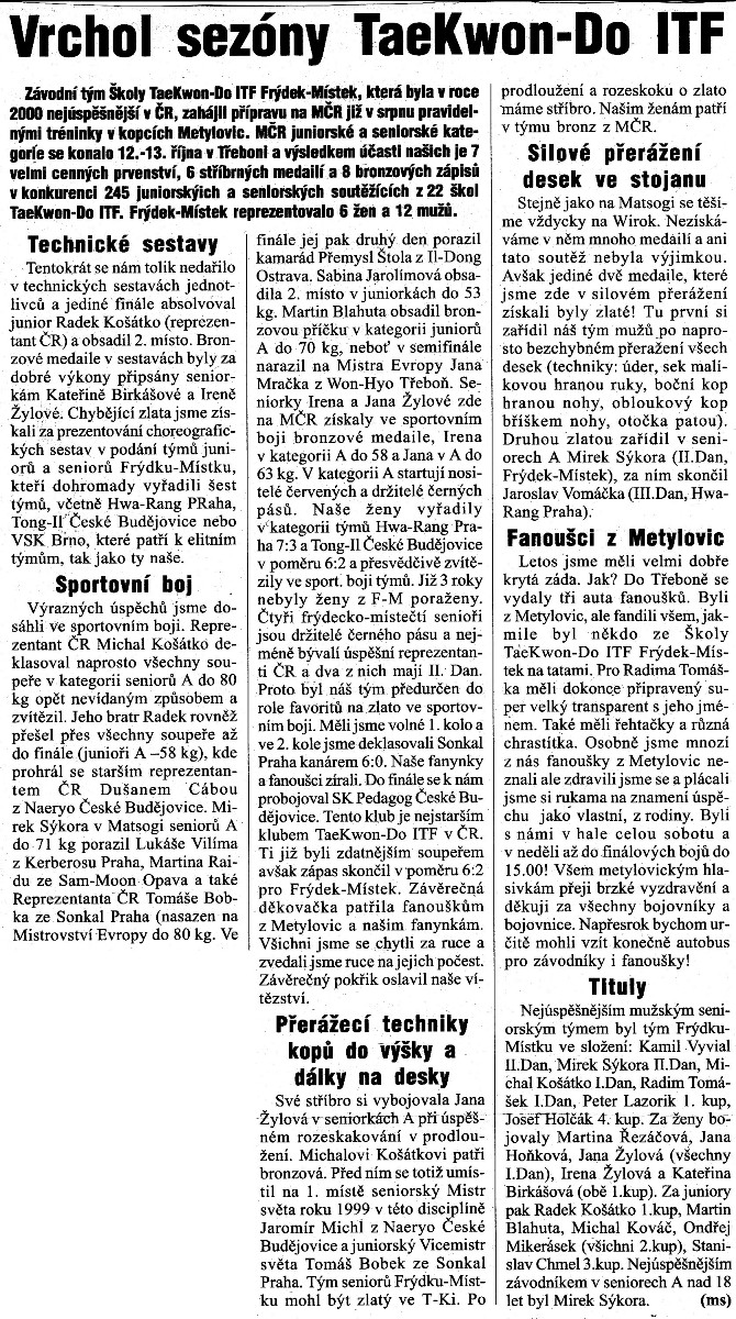 The top of season in Taekwon-do ITF (Czech Republic, October 2002)