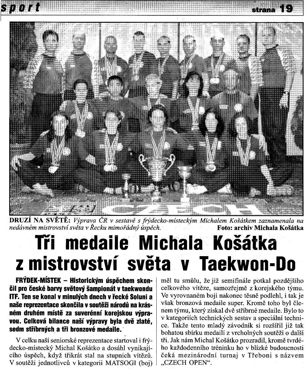 Three medals of Michal Kosatko from World Taekwon-do ITF Championship (Czech Republic, June 2003)