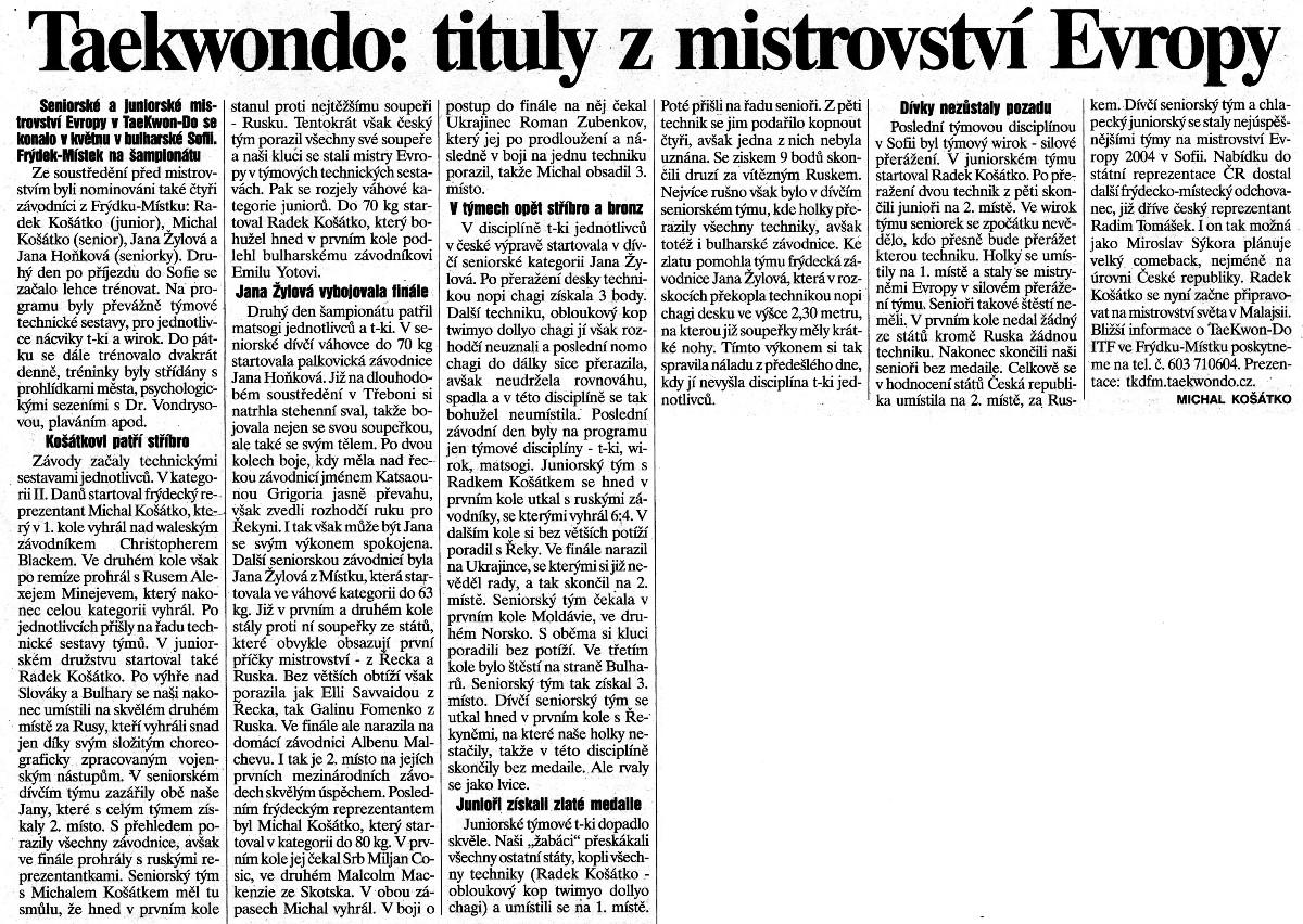 Taekwon-do ITF: Titles from European Championship (Czech Republic, May 2004)