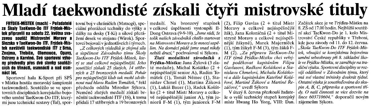 Young Taekwon-do ITF members won 4 titles (Czech Republic, May 2004)