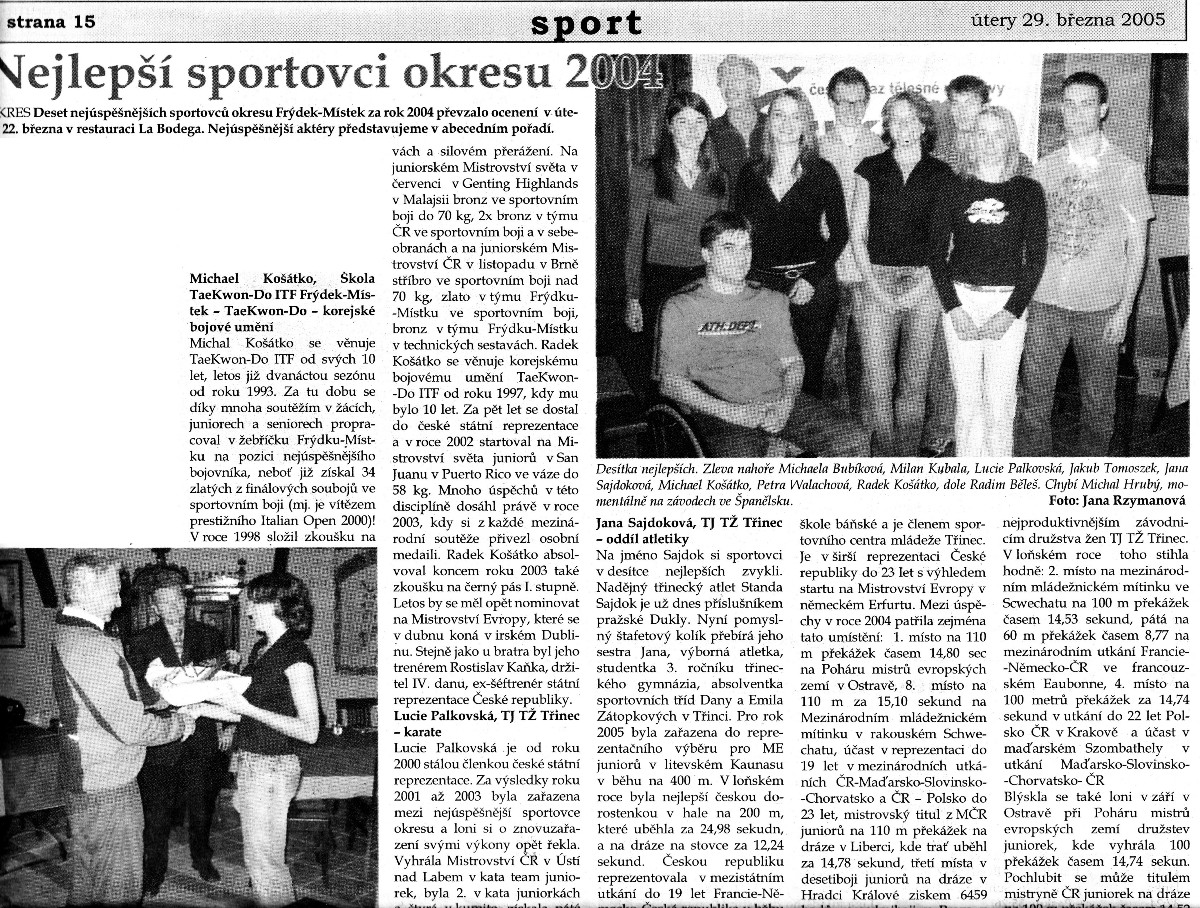The best district sportsmen of 2004 (Czech Republic, March 25th, 2005)