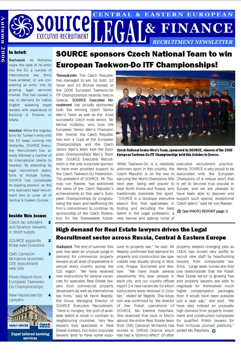 European Championship 2006 (Source Executive Recruitment - Legal & Finance, Autumn 2006)
