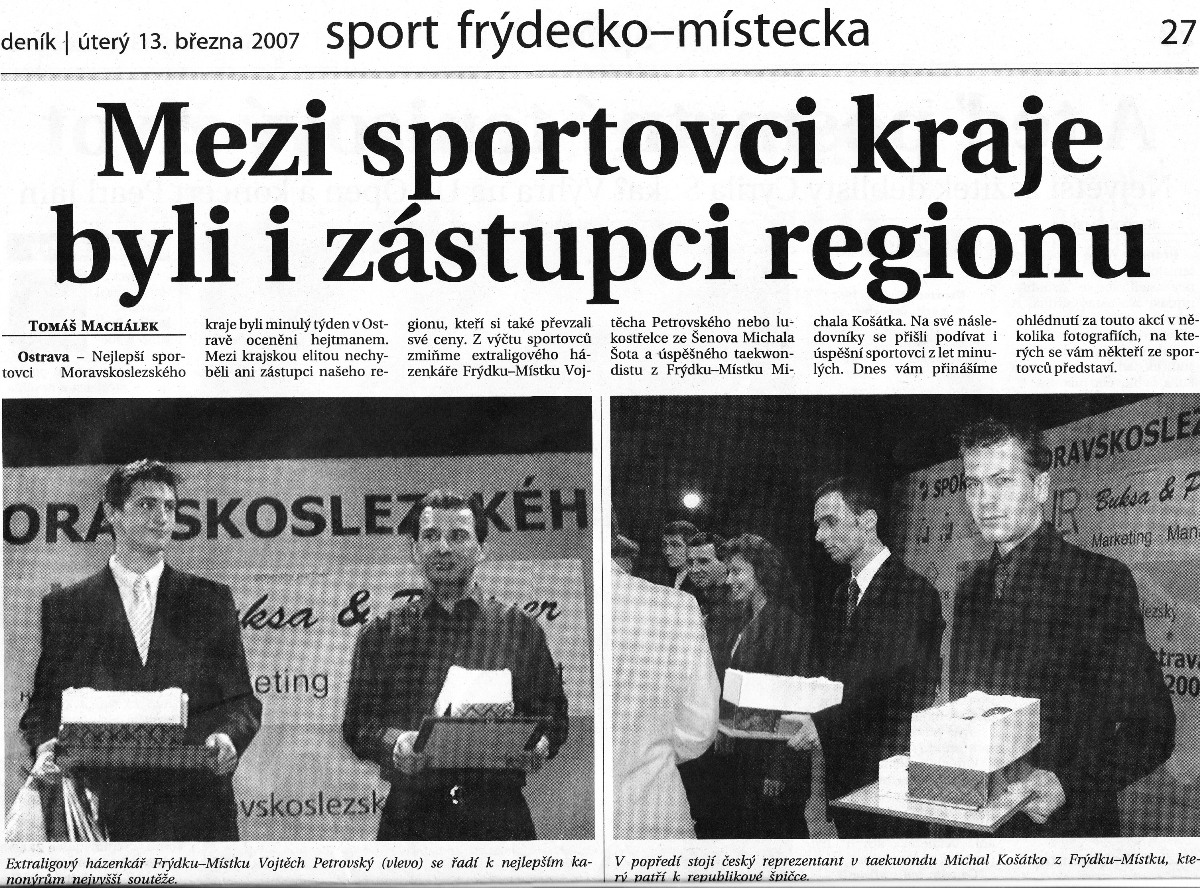 10 best sportsmen of Moravian-Silesian Region (Czech Republic, 2007)