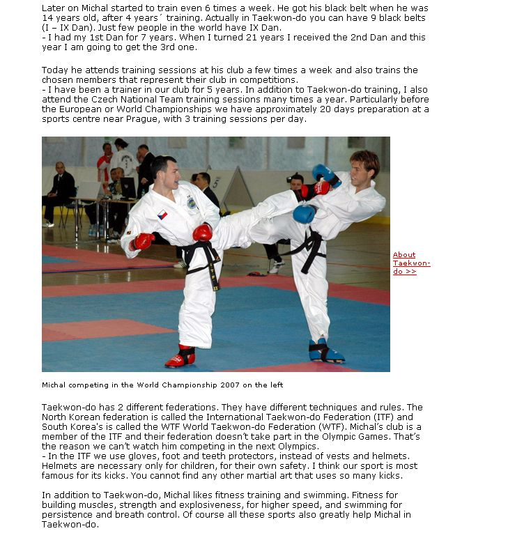 Michal does Taekwon-do for his well being and health (Finland, March 2008)