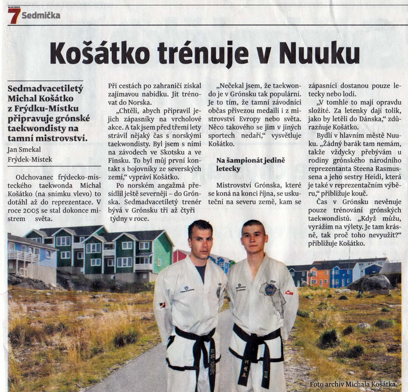 Košátko is training in Nuuk (Czechia, October 2010)