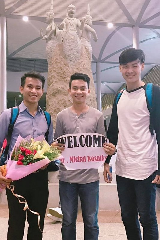 Chivorn, Vannsak and Siesung at the aiport