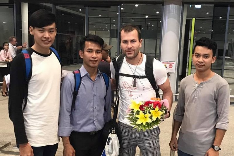 With Chivorn, Vannsak and Siesung at the aiport