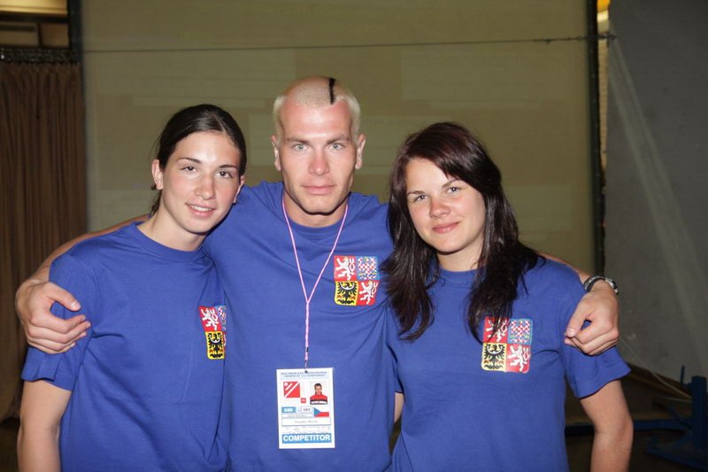 Michal with Andrea Konečná and Katka Kolářová, 2 Czech National Team members