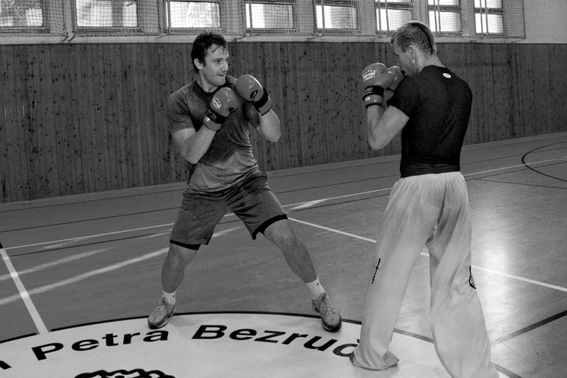 Pavel Kubina and Michal Košátko during sparring