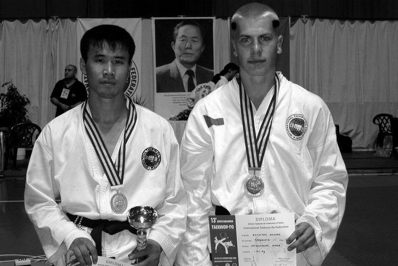 With Pu Song Min from DPRK; bronze medal for Michal Košátko in sparring -78 kg (World Championship 2003, Greece)