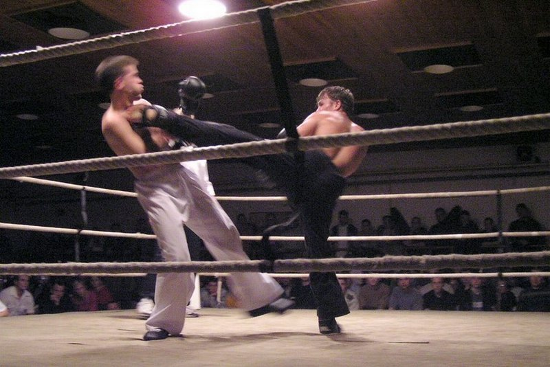 Exhibition match during muay thai competition (Frýdek-Místek, Czechia)