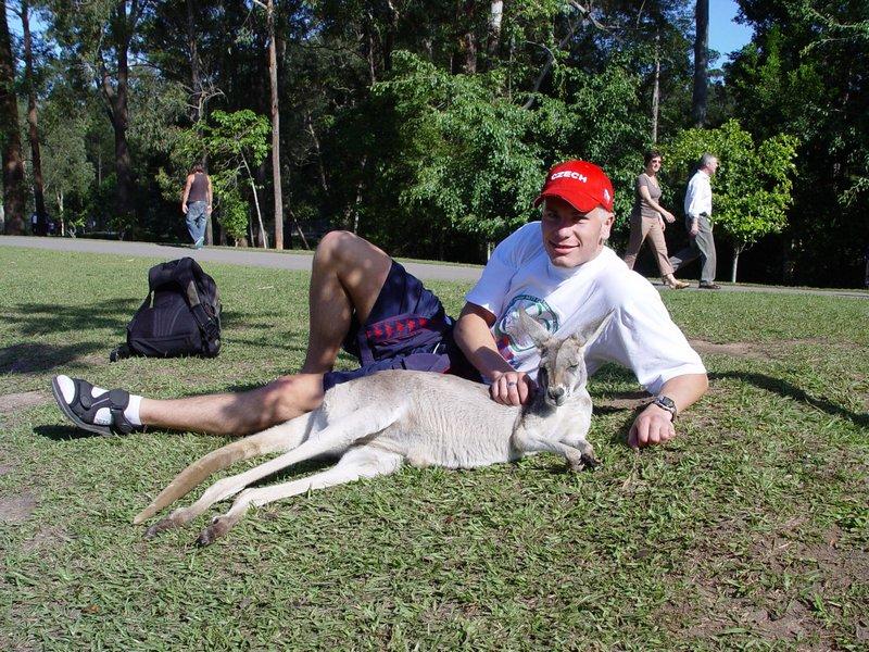 Michal Košátko with a kangaroo, Australia