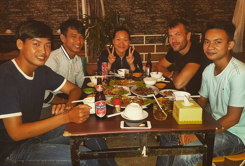 Michal Košátko with friends in Phnom Penh, Cambodia