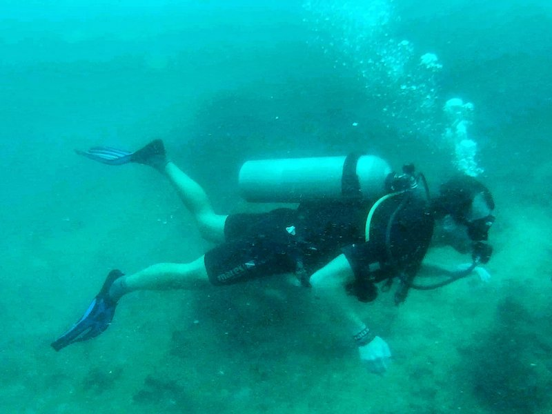 Michal Košátko diving in Kota Kinabalu, Malaysia