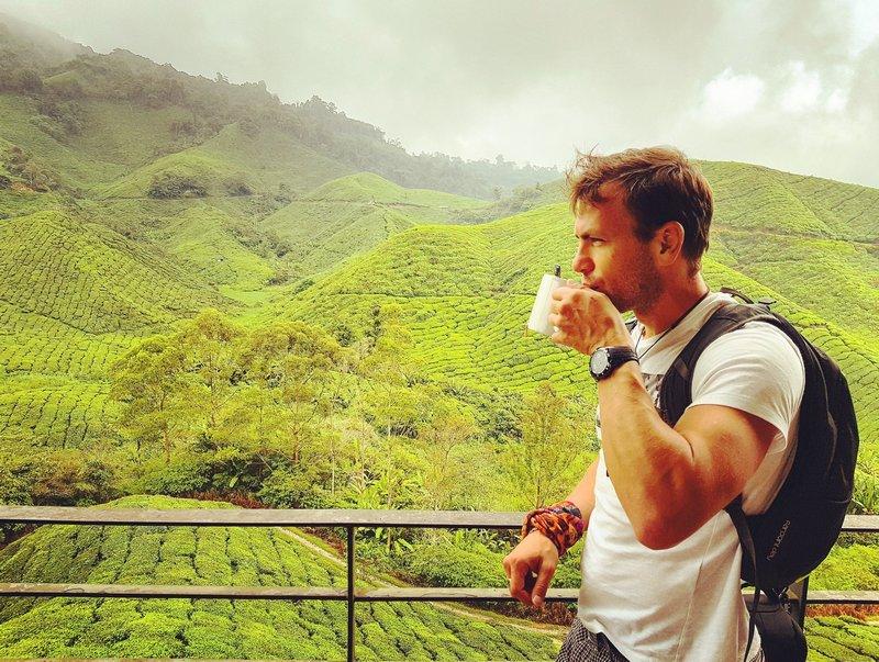 Michal Košátko visiting tea plantation, Malaysia