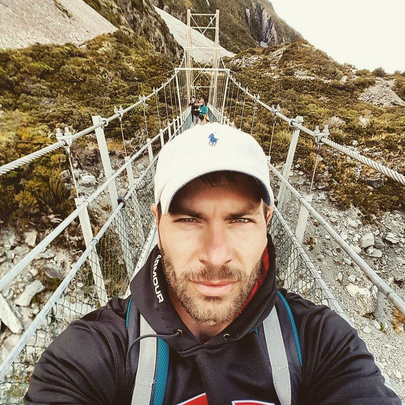 Michal Košátko hiking, New Zealand