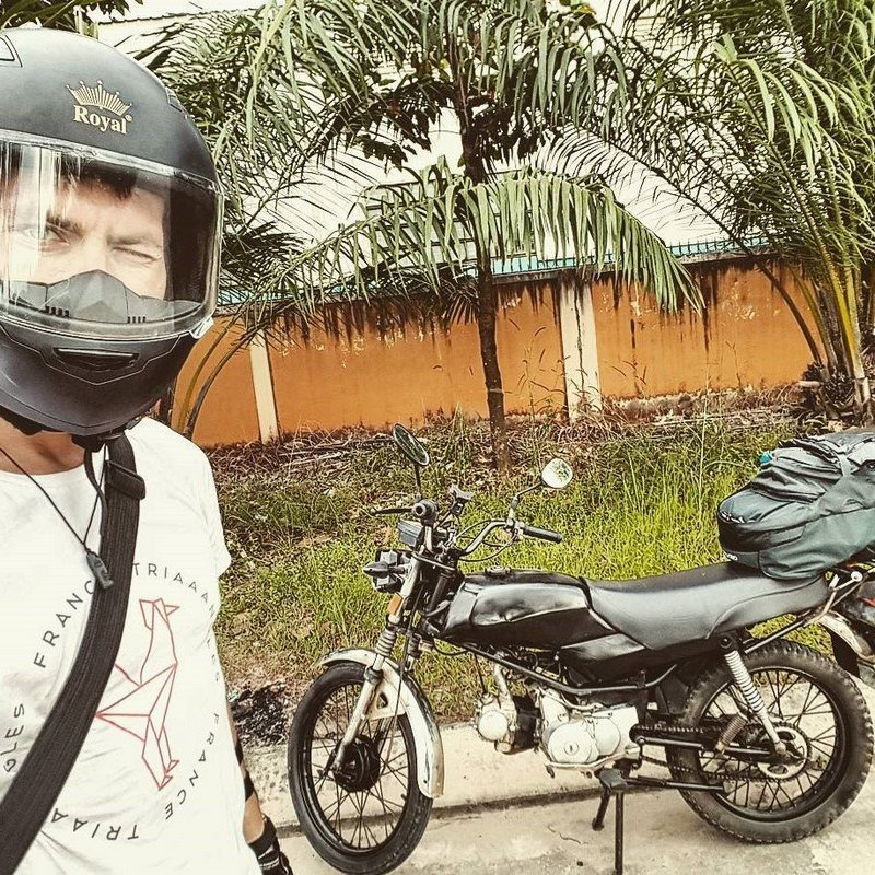 Michal Košátko with his motorbike on the way from HCMC to Hanoi, Vietnam