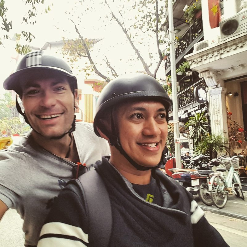 Michal Košátko with his friend Josh in Vietnam, Hanoi