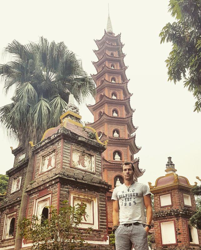 Michal Košátko at Tran Quoc Pagoda in Hanoi, Vietnam